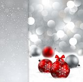 stock photo of christmas cards  - christmas background with red and silver baubles and place for text - JPG