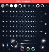 Big set of lighting isolated effects. Magic, bright stars poster
