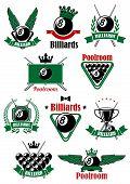 Постер, плакат: Billiards sport game heraldic icons