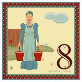 picture of milkmaid  - The 12 Days of Christmas - 8th Day - Eight Maids A Milking