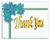 picture of thank you card  - image created using x3d and adobe photoshop. multiple layers and shadows create a 3d effect.