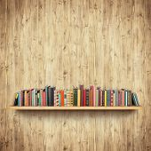 Bookshelf on yellow wooden wall poster