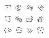 Постер, плакат: Lined Sleep Well Icons