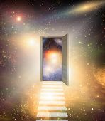 stock photo of open door  - Doorway and stairway opens into clear space filled with stars - JPG