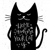 Home Is Where Your Cat Is - Hand Drawn Typography Design. poster