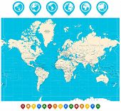 World Map Vector Illustration And Map Pointers poster