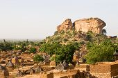 picture of dogon  - A view of rock formation over Dogon tribe village Songo in Mali - JPG
