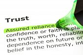 'Assured Reliance' Highlighted, Under 'trust' poster