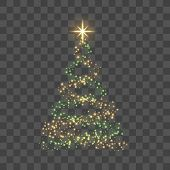 Gold Christmas Tree On Transparent Background Happy New Year Vector Illustration poster