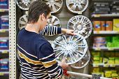 Man Chooses Alloy Wheels For Your Car Wheels In Supermarket poster