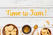 Food Typography Time To Jam On White Wooden Rustic Background. Orange Jam Lettering. Holiday Dessert poster