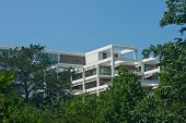 foto of commercial building  - A white terraced office tower rising out of green trees into a clear blue sky - JPG
