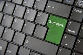 stock photo of backspace  - A close up to a laptop keyboard which has a green success key - JPG