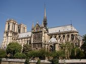 stock photo of notre dame  - the Notre dame de paris church side view - JPG