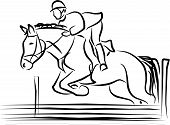 picture of quadruped  - a horse and rider jumping an obstacle - JPG
