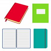 Set Of Opened And Closed Notebooks And Copybooks With Colored Covers. Notebook With Elastic Strap, W poster