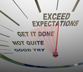 A speedometer with the words Exceed Expectations represents the surpassing of expectations of the pe
