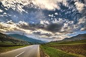 Cycling Mountain Road. Misty Mountain Road In High Mountains. Cloudy Sky With Mountain Road. Azerbai poster