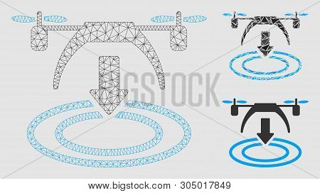 poster of Mesh Copter Landing Model With Triangle Mosaic Icon. Wire Carcass Triangular Mesh Of Copter Landing.