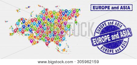 poster of Vector Colorful Mosaic Europe And Asia Map And Grunge Seals. Abstract Europe And Asia Map Is Compose
