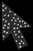 Bright Mesh Cursor Arrow With Lightspot Effect. Abstract Illuminated Model Of Cursor Arrow Icon. Shi poster