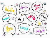 Hand Drown Speech Bubbles With Words. Slogan Stylized Typography. Sketch Quotes And Phrases Collecti poster
