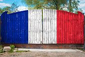 Close-up Of The National Flag Of France On A Wooden Gate At The Entrance To The Closed Territory On  poster