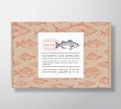 Fish Pattern Realistic Cardboard Box With Banner. Abstract Vector Packaging Design Or Label. Modern  poster