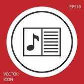 Grey Music Book With Note Icon Isolated On Red Background. Music Sheet With Note Stave. Notebook For poster