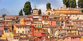 Colorful Cosy Houses And Old Cemetery Of Menton At The Top Of The Colla Rogna Hill Above The Old Tow poster