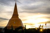 Sunset Phra Pathom Chedi Biggest Sanctuary Is A Vital Part Of Thailand. poster