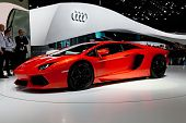 GENEVA - MARCH 8: The Lamborghini Aventador on display at the 81st International Motor Show Palexpo-