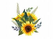 Beautiful Floral Collection With Sunflowers,leaves,branches,fern Leaves. Bright Watercolor Bouquet.  poster