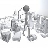image of godzilla  - an enormous stickman is attacking the city - JPG
