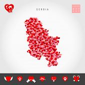 I Love Serbia. Red And Pink Hearts Pattern Vector Map Of Serbia Isolated On Grey Background. Love Ic poster