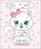 Lovely Cute White Kitten Little Kitten It S A Girl, With The Bow poster