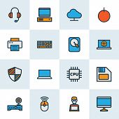 Hardware Icons Colored Line Set With Computer Monitor, Laptop, Shield And Other Broadband Elements.  poster