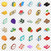 Thinness Icons Set. Isometric Style Of 36 Thinness Vector Icons For Web For Any Design poster