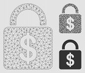 Mesh Dollar Lock Model With Triangle Mosaic Icon. Wire Carcass Polygonal Mesh Of Dollar Lock. Vector poster