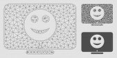 Mesh Display Smile Model With Triangle Mosaic Icon. Wire Frame Triangular Mesh Of Display Smile. Vec poster