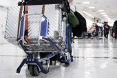 Luggage / Baggage Trolley Cart With Suitcases For Check In Line Journey Tourism In Airport Departure poster