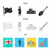 Vector Illustration Of Culture And Sightseeing Sign. Collection Of Culture And Originality Vector Ic poster