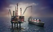 stock photo of fuel tanker  - Drilling offshore platform and tanker 3d image - JPG