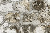 Texture Of A Stone Wall Connected With Concrete Lines Old Castle Stone Wall Texture Background - Sto poster
