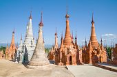 Chedi Shwe In Dein Pagoda. The Village Of In Dein In The Vicinity Of Inle Lake. Myanmar (burma) poster