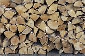 Stacked Firewood For Kindling A Stove, Fireplace, Barbecue Or Bonfire. Firewood Background. Wood Tex poster