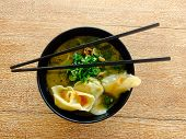 Top View Over A Delicious Chinese Wonton Soup poster