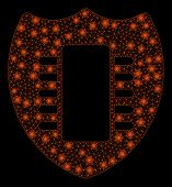Bright Mesh Digital Security With Glare Effect. Abstract Illuminated Model Of Digital Security Icon. poster