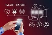 Mobile Phone With Smart Home App.  Home Control Smart Phone Monitoring. Smart Home Concept. poster