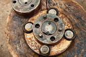 Vintage Rusty Mechanics With Scratched Copper Gears And Old Round Elements Inside. Grungy Copper And poster